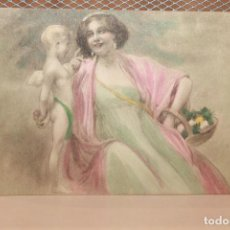 Postales: TARJETA POSTAL ROMÁNTICA COLOREADA. ESCRITA, NO CURSADA. 1907. INFORMACIÓN.. Lote 143199058