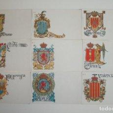 Postales: 50 POSTALES. ESCUDOS ESPAÑOLES. COLECCIÓN COMPLETA. HERMENEGILDO MIRALLES. BARCELONA. AÑO 1900.. Lote 143303950