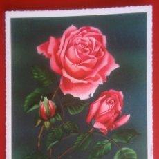 Postales: BONITA POSTAL ROSAS IMPRESA EN ALEMANIA FLORES. Lote 143338230