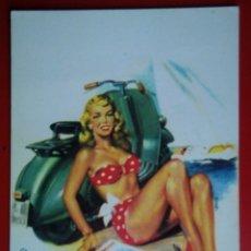 Postales: BONITA POSTAL CHICA VESPA SCOOTER MOTO. Lote 145639265