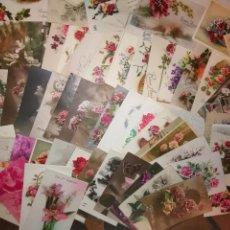 Postales: LOTE DE 61 POSTALES ANTIGUAS DE FELICITACIÓN. FLORES, BONNE ANNEE. Lote 146935210