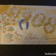 Postales: 1908 POSTAL EN RELIEVE FELICITACION AÑO NUEVO. Lote 155624622