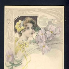 Postales: POSTAL ILUSTRADA MODERNISTA: MUJER, FLORES, ART NOUVEAU (VIENNE 166). Lote 157296026