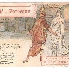 Postales: POSTAL MODERNISTA. CAFÉ DE BORDEAUX. MARIE BRIZARD. IMPO. M.LAAS ET PECAUD PARIS.. VELL I BELL. Lote 166820898