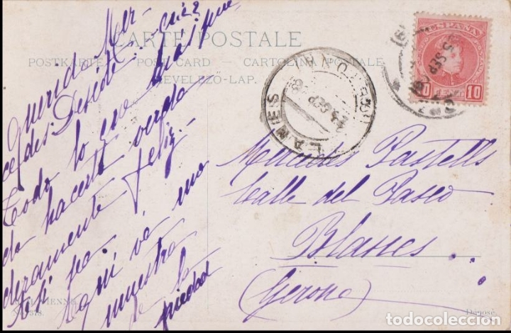 Postales: ANTIGUA POSTAL MODERNISTA, LIBRETA DE BAILE - M.M.VIENNE Nº 378 - CIRCULADA 1908 - Foto 2 - 171976617