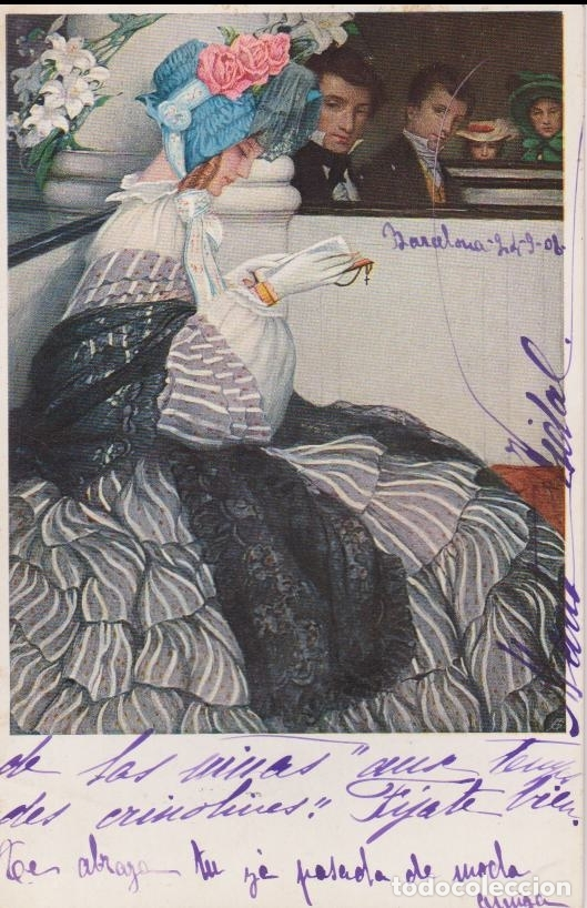 ANTIGUA POSTAL MODERNISTA, LIBRETA DE BAILE - M.M.VIENNE Nº 378 - CIRCULADA 1908 (Postales - Postales Temáticas - Estilo)