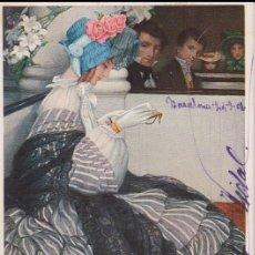 Postales: ANTIGUA POSTAL MODERNISTA, LIBRETA DE BAILE - M.M.VIENNE Nº 378 - CIRCULADA 1908. Lote 171976617