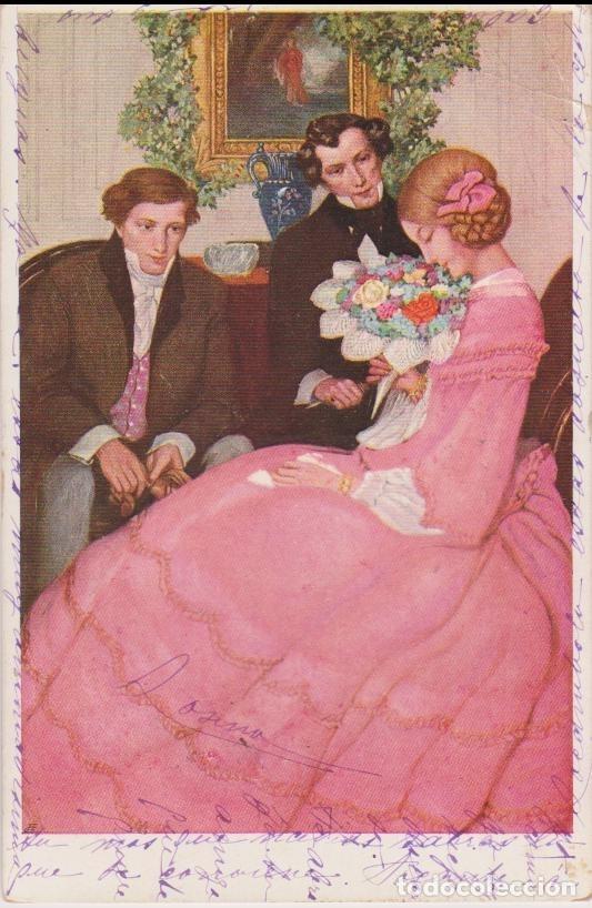 ANTIGUA POSTAL MODERNISTA, CORTEJO - M.M.VIENNE Nº 378 - CIRCULADA 1908 (Postales - Postales Temáticas - Estilo)