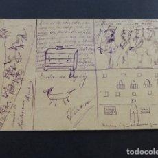 Postais: POSTAL ILUSTRADA A MANO POR NIÑO CAMINO DE GUADARRAMA MILITARES ETC. 1904. Lote 175045930