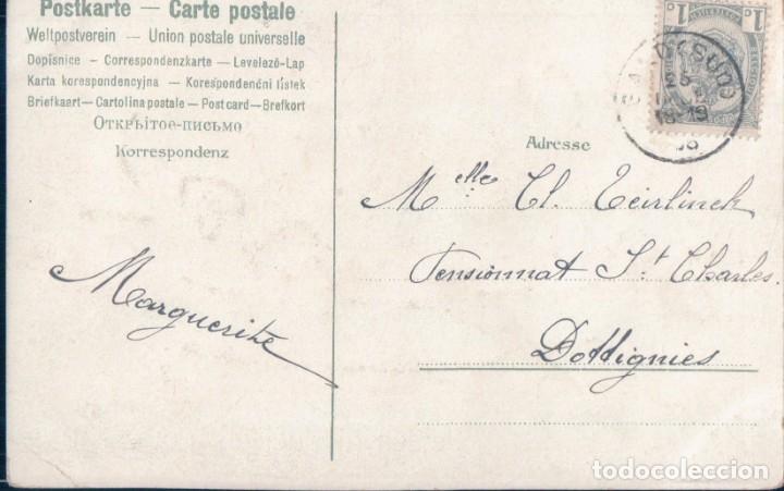 Postales: POSTAL BONNE FETE - CENTRO DE FLORES LILAS CON PURPURINA - CIRCULADA - Foto 2 - 175211004