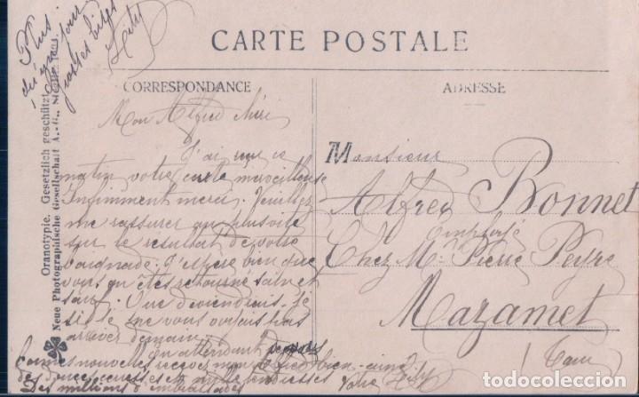 Postales: POSTAL RETRATO MUJER TIPO NINFA RODEADA DE FLORES Y PROTEGIENDO A NIÑOS PASTORES - NPG - CIRCULADA - Foto 2 - 181543150