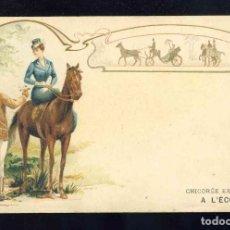 Postales: POSTAL ILUSTRADA MODERNISTA: MUJER MONTADA EN CABALLO Y UN JINETE. Lote 185876105