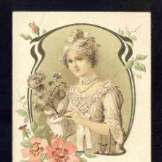 Postales: POSTAL ILUSTRADA MODERNISTA: MUJER CON TIESTO DE FLORES. FLORES Y ORLA EN RELIEVE. Lote 185876653