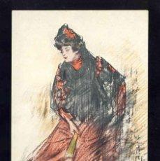Postales: POSTAL MODERNISTA ILUSTRADA POR RAMON CASAS. MUJER. (ED.THOMAS, LB). Lote 185877391