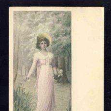 Postales: POSTAL ILUSTRADA MODERNISTA: A MAY MORNING. UNA MAÑANA DE MAYO. MUJER CON SOMBRERO. Lote 185878756
