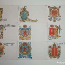 Postales: 50 POSTALES. ESCUDOS ESPAÑOLES. COLECCIÓN COMPLETA. HERMENEGILDO MIRALLES. BARCELONA. AÑO 1900.. Lote 191798997