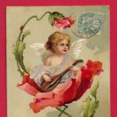 Postales: AE970 ANGEL ANGELITO TOCANDO MANDOLINA EN UNA FLOR DE AMAPOLA. Lote 195499137