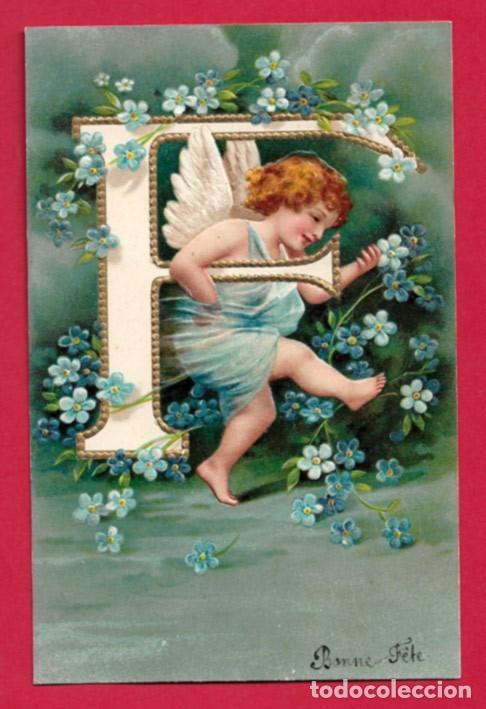 AE958 ANGEL ANGELITO ABECEDARIO ALFABETO LETRA F CON FLORES POSTAL EN RELIEVE GOFRADA (Postales - Postales Temáticas - Estilo)