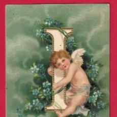 Postales: AE972 ANGEL ANGELITO ALFABETO ABECEDARIO LETRA I CON FLORES POSTAL GOFRADA FECHA1907. Lote 196220816