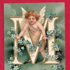 Postales: AE963 ANGEL ANGELITO ABECEDARIO ALFABETO LETRA M CON FLORES POSTAL EN RELIEVE GOFRADA FECHA1905. Lote 196221970