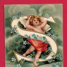 Postales: AE968 ANGEL ANGELITO NINO ALFABETO ABECEDARIO LETRA S CON FLORES POSTAL GOFRADA FECHA 1906. Lote 196325500