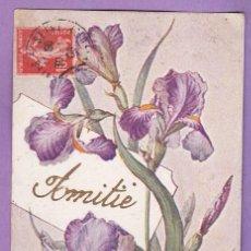 Postales: AE391 FLORES LIRIOS DE COLOR MALVA POSTAL FIRMADA. Lote 196371817