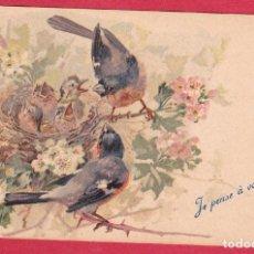 Postales: AB495 ANIMALES AVES PAJAROS PAREJA DE CAMACHUELOS Y SUS AVECILLAS FLORES. Lote 197925405