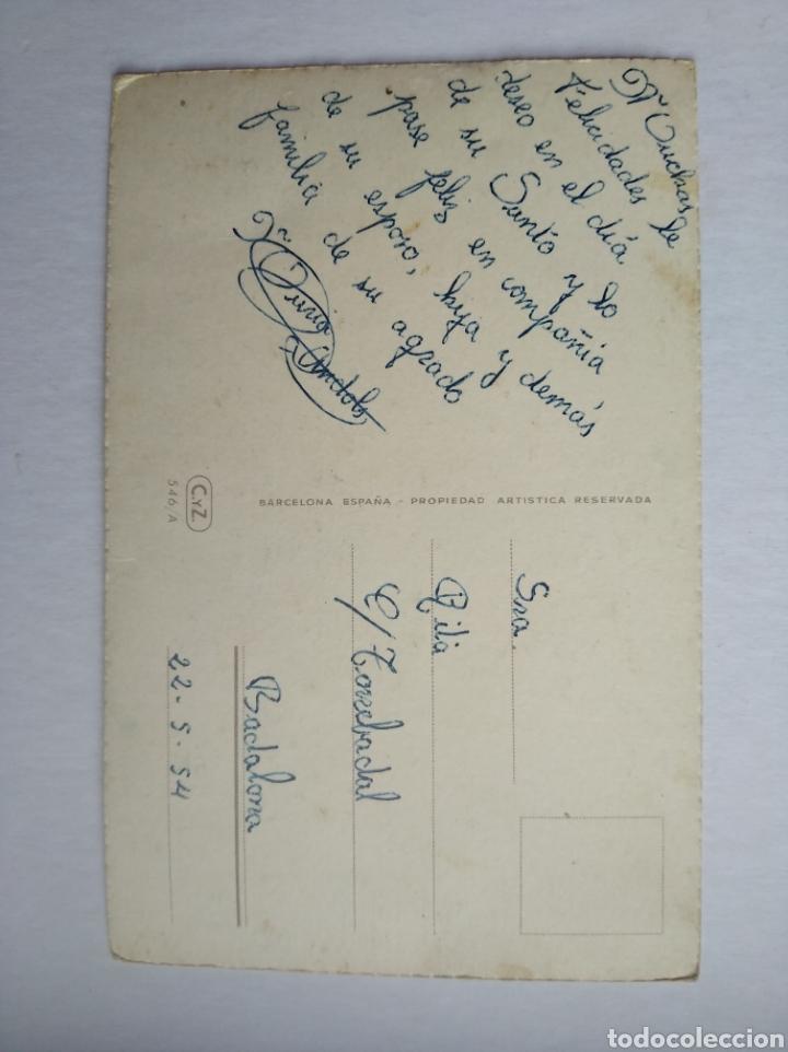 Postales: Postal cesta con flores felicidades ilustra vives purpurina escrita año 1954 - Foto 2 - 199245455