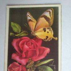 Postales: POSTAL ROSA ROJA Y MARIPOSA VIVES CYZ. Lote 199777015