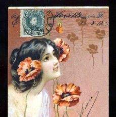 Postales: POSTAL ILUSTRADA MODERNISTA. MUJER. Lote 205529118