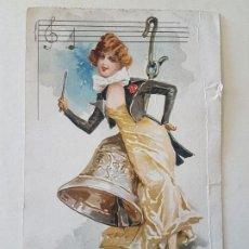 Postales: MUJER CON CAMPANA Y PARTITURA MUSICAL POSTAL CROMOLITOGRAFICA. Lote 212289438