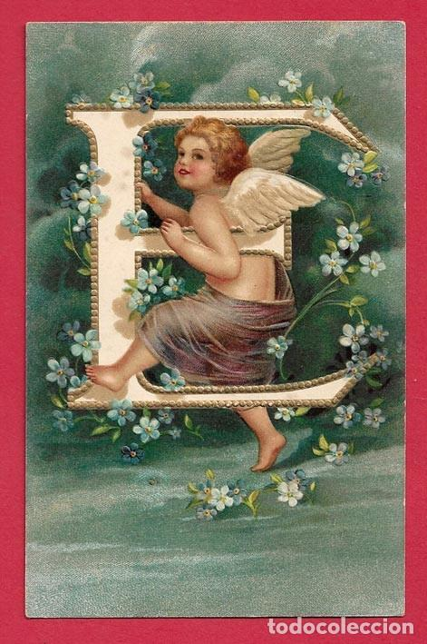 A484 ANGEL ANGELITO NINO ABECEDARIO ALFABETO LETRA E FLORES POSTAL EN RELIEVE GOFRADA (Postales - Postales Temáticas - Estilo)