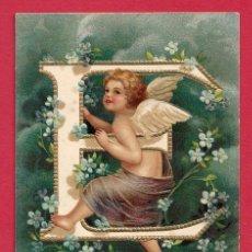 Postales: A484 ANGEL ANGELITO NINO ABECEDARIO ALFABETO LETRA E FLORES POSTAL EN RELIEVE GOFRADA. Lote 223222677