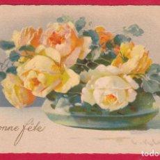 Postales: AE552 FLOR FLORES RAMA DE ROSAS EN UN JARRON VERDE. Lote 225456575