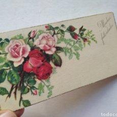 Postales: TARJETA SENCILLA FELICITACION FLORES ROSAS MUCHAS FELICIDADES / 10,5 X 5,5 CM ESCRITA AÑO 1951. Lote 225513065