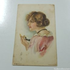 Postales: POSTAL MODERNISTA - EDWARD GROSS - AMERICAN GIRL - CIRCULADA A VIGO. Lote 228042275