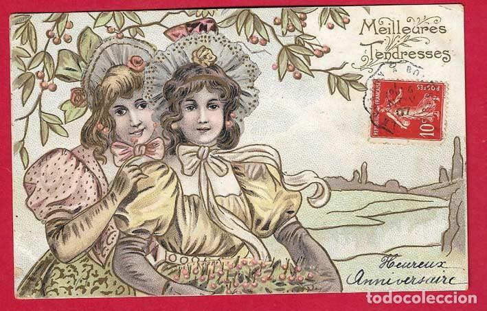 A631 MUJERES BAJO UNA RAMA DE CEREZO POSTAL EN RELIEVE 14/11/1907 (Postales - Postales Temáticas - Estilo)