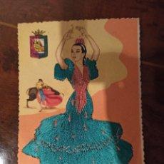 Postales: BAILES ANDALUCES VESTIDO BORDADO. Lote 236450955