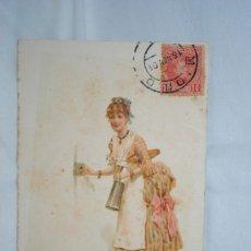 Postales: SEÑORA CON LECHERA 1901. Lote 240079255