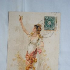 Postales: SEÑORA CON MARIPOSA , 1901. Lote 240079800