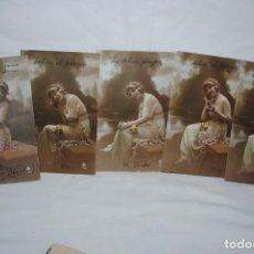 Postales: LOTE DE 5 POSTALES DE LAS MISMA SEÑORA , 1915. Lote 240559590