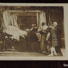 Postales: POSTAL DE OBRAS DE ROSALES, ISABEL LA CATOLICA DICTANDO SU TESTAMENTO, FOT. LAURENT, MADRID, REVERSO. Lote 253475910
