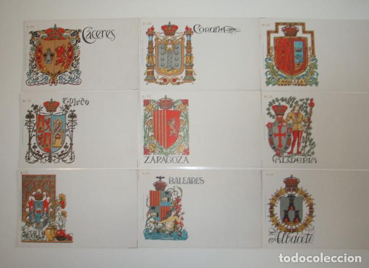 Postales: 50 POSTALES. ESCUDOS ESPAÑOLES. COLECCIÓN COMPLETA. HERMENEGILDO MIRALLES. BARCELONA. - Foto 4 - 262391860