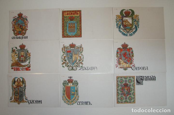 Postales: 50 POSTALES. ESCUDOS ESPAÑOLES. COLECCIÓN COMPLETA. HERMENEGILDO MIRALLES. BARCELONA. - Foto 5 - 262391860