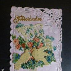 Postales: PALOMAS Y FLORES DESPLEGABLE EN RELIEVE POSTAL. Lote 265409584