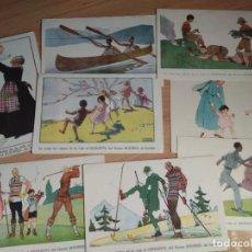Postales: LOTE 8 POSTALES NIÑOS Y DEPORTES. MEDICAMENTO HEMOSTYL DEL DOCTOR ROUSSEL, M SALZEDO, ART DECÓ. Lote 266036593