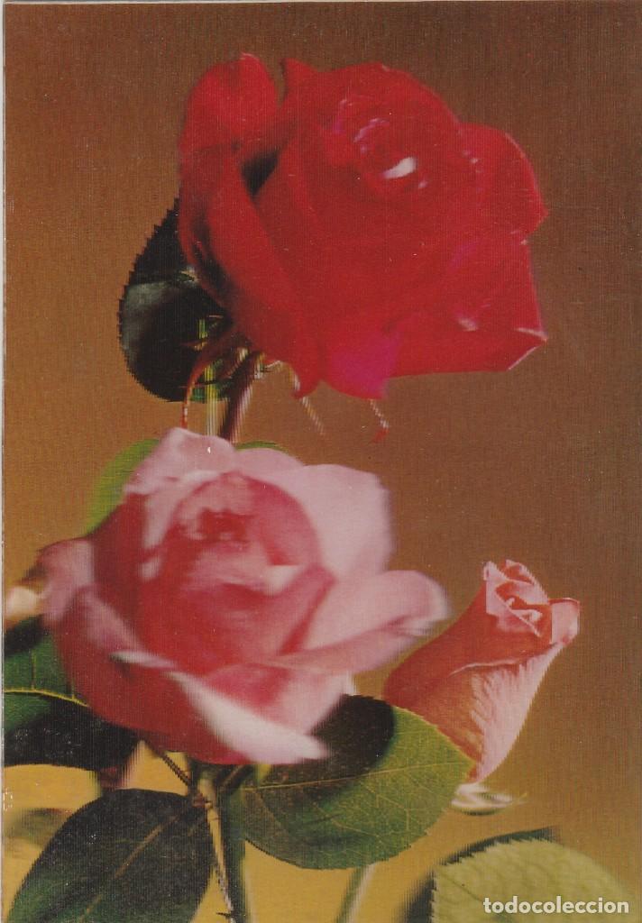 POSTAL - 3D - FLORES - ROSAS - RIGIDA - R 119 - ED ESCUDO DE ORO - AÑO 1971 - ESCRITA (Postales - Postales Temáticas - Estilo)