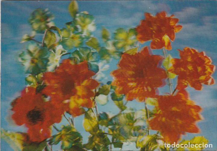 POSTAL - 3D - FLORES - RIGIDA - R 251 - ED ESCUDO DE ORO - AÑO 1972 - NUEVA (Postales - Postales Temáticas - Estilo)