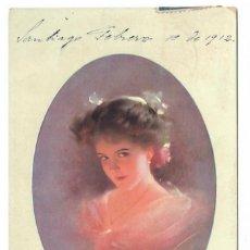 Postales: RETRATO DE MUJER - CIRCULADA EN 1912 - SELLOS DE CHILE. Lote 266976229