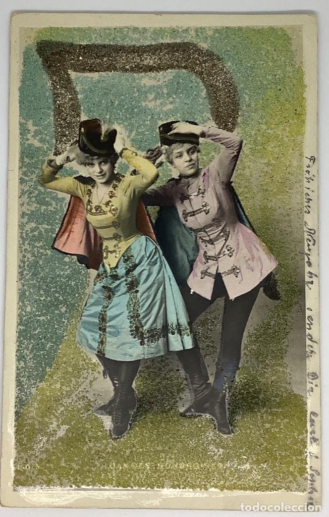 POSTAL COMEDIA PURPURINA DANZAS HÚNGARAS, REVERSO SIN DIVIDIR, CIRCULADA 1905, SELLO IMPERIO ALEMÁN. (Postales - Postales Temáticas - Estilo)